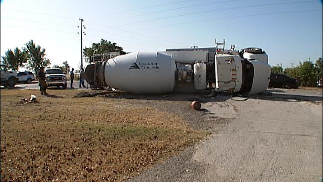 Driver Injured When Cement Truck Rolls Over In Northeast Tulsa