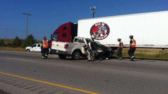 Semi-Pickup Truck Crash Slows Traffic On Jenks Highway