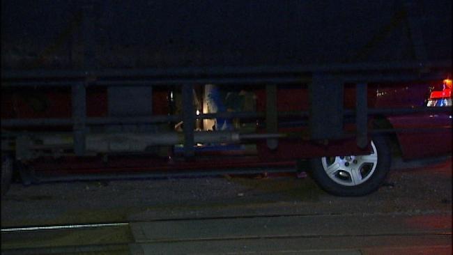 Woman Unhurt After Van Strikes Train In West Tulsa