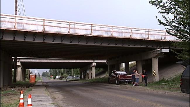 Concrete Falls From Tulsa Highway Bridge, Hits Pickup Truck