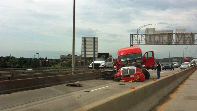 Truck Crash Shuts Down Traffic On Downtown Tulsa Highway Bridge