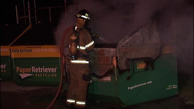 Fire Damages Paper Recycling Dumpster Behind Tulsa High School