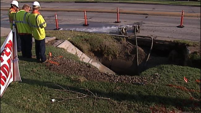 12-Inch Water Main Breaks In East Tulsa