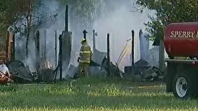 Fire Destroys Rural Barn West of Sperry