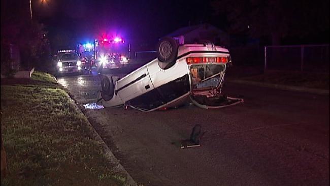 Driver Rolls Car On North Tulsa Street
