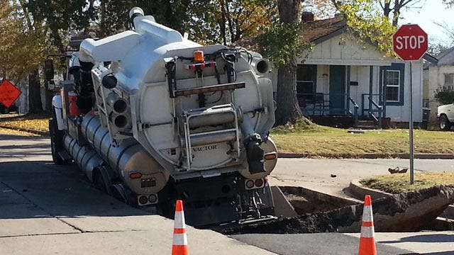 West Tulsa Street Collapse Caused By Leaking Sewer Line