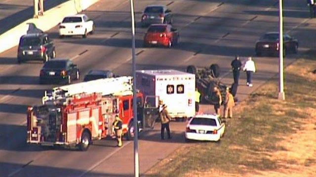Rollover Wreck Backs Up Traffic On Highway 169 In Tulsa