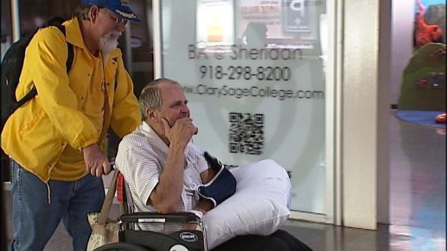 Oklahoma Volunteer Returns Home Injured From Superstorm-Hit Northeast