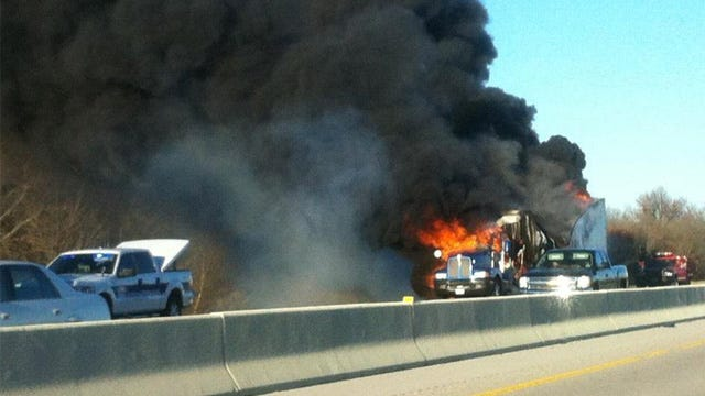 Semi Catches Fire On Will Rogers Turnpike Near Big Cabin