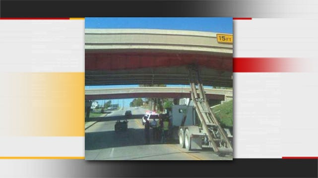 Traffic Detoured After Container Truck Damages Downtown Tulsa Bridge
