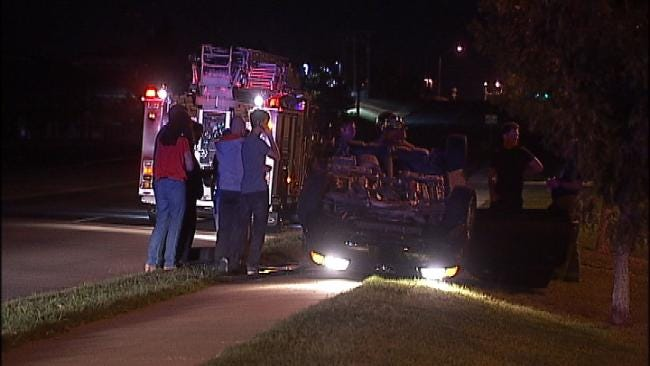 No One Hurt When Car Rolls Over Onto Tulsa Curb