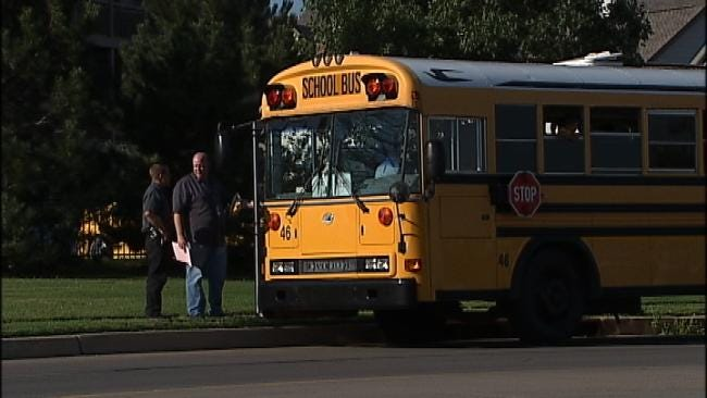 Police: No Injuries When Jenks School Bus Clips Another Vehicle