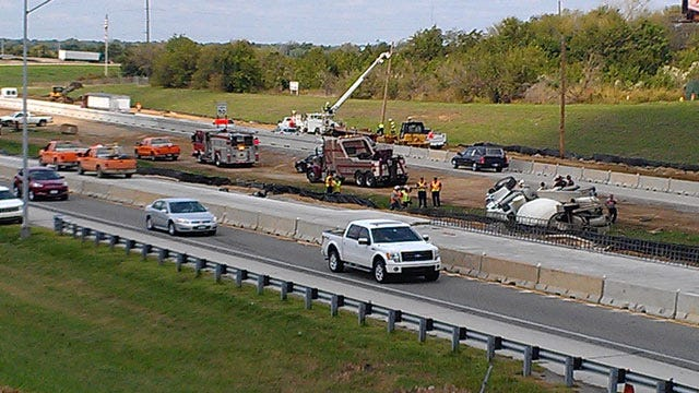 Concrete Truck Rolls Over In East Tulsa Construction Zone