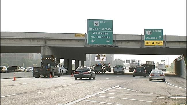Tractor On Semi Trailer Hits Tulsa Highway Bridge, Tractor Damaged