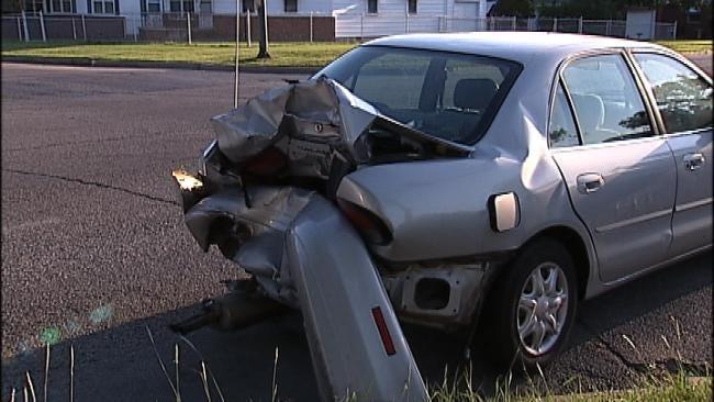 Tulsa Police: Bright Sun, Illegally Parked Car Equal Rear-End Crash
