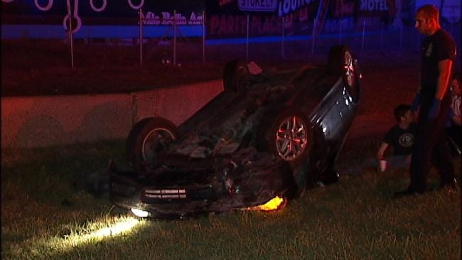 Tulsa Police: Driver May Have Been Distracted When He Rolled His Car
