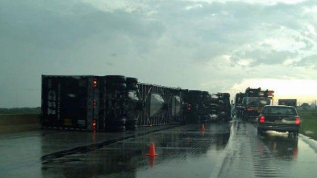 Straight-Line Winds Blow Over Semi Truck, Killing Driver