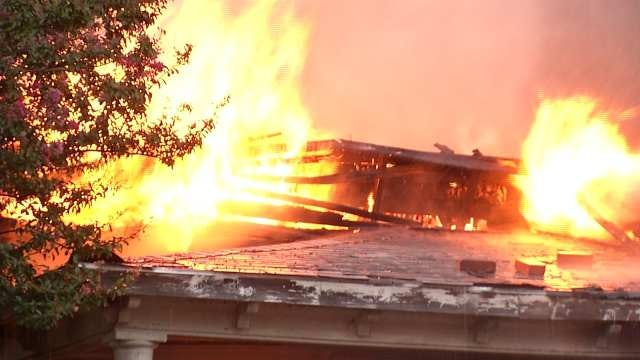 Fire Destroys Home West Of Downtown Tulsa