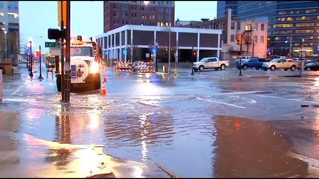 Downtown Tulsa Intersection Closed By Water Line Break