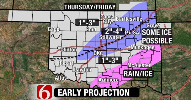 Snow In Forecast For Tulsa Area Later This Week
