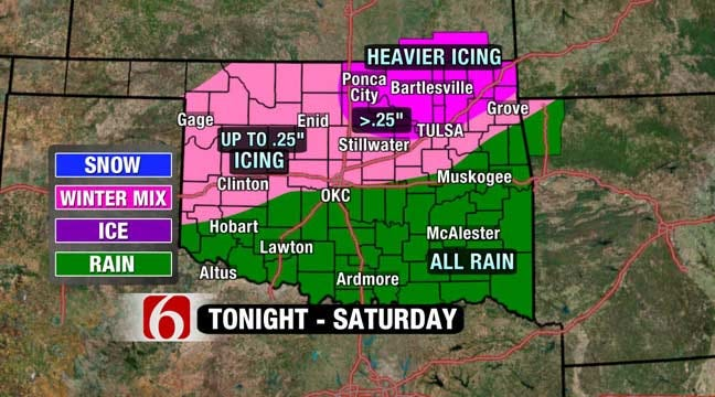 Ice Storm Threat For Tulsa Growing