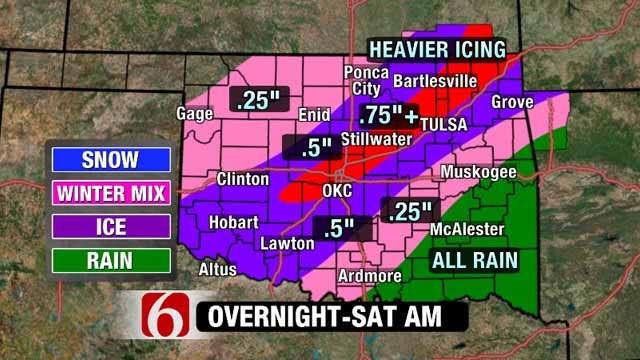 Ice Storm Warning Issued For Eastern Oklahoma