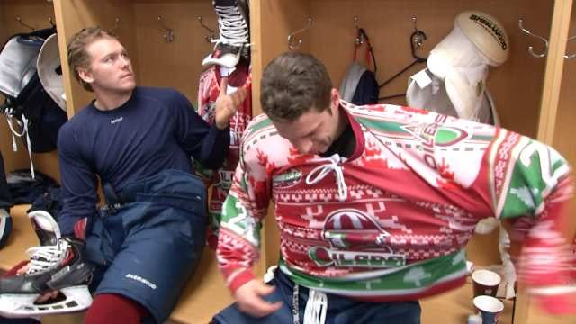 Tulsa Oilers' Wear Ugly Christmas Sweaters