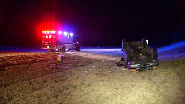 OHP: Distracted Driver Rolls SUV Off West Tulsa County Highway