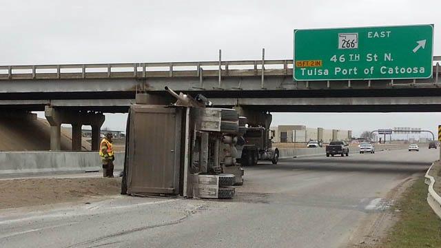 Sand Truck Overturns On Highway 169 In Tulsa