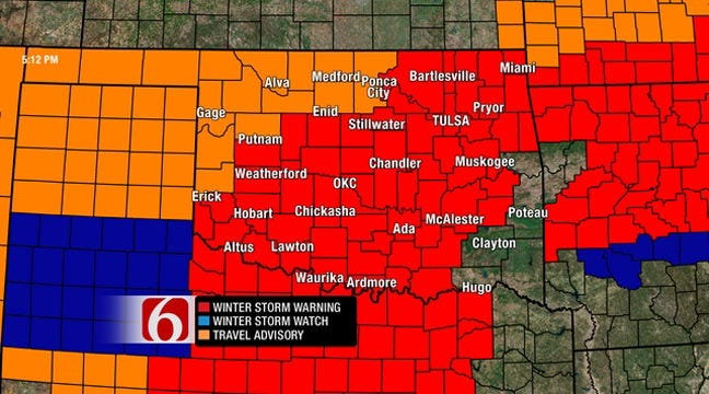 Winter Storm Warning Issued For Eastern Oklahoma