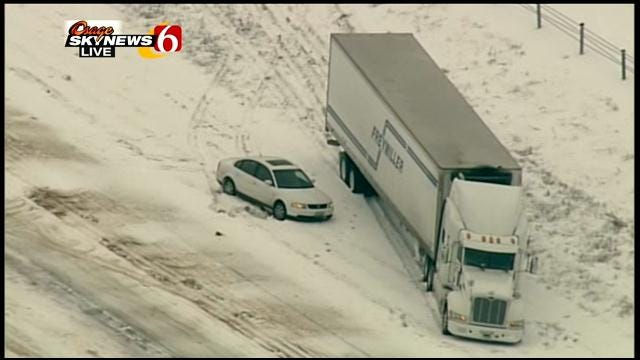 Jack-Knifed Semi Causes Major Slow-Down On I-40 In Okmulgee County
