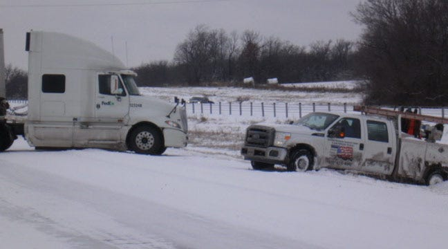 Watch: Dashcam Video Of Out-Of-Control Truck In Oklahoma Snow Storm