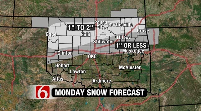 Winter Weather Advisory In Effect Monday For Parts Of Northern Oklahoma