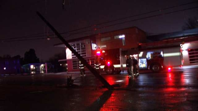 Driver Cited After Tulsa Crash Snaps Utility Pole
