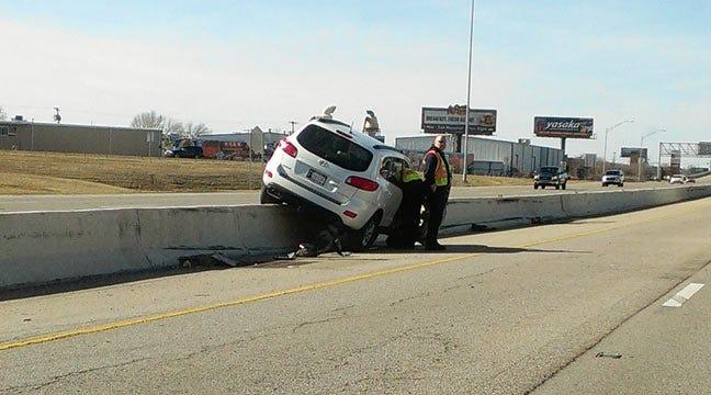 Car Straddles Center Median On Broken Arrow Expressway