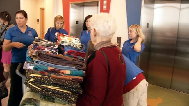 Group Delivers Handmade Quilts To Kids In Tulsa Hospital