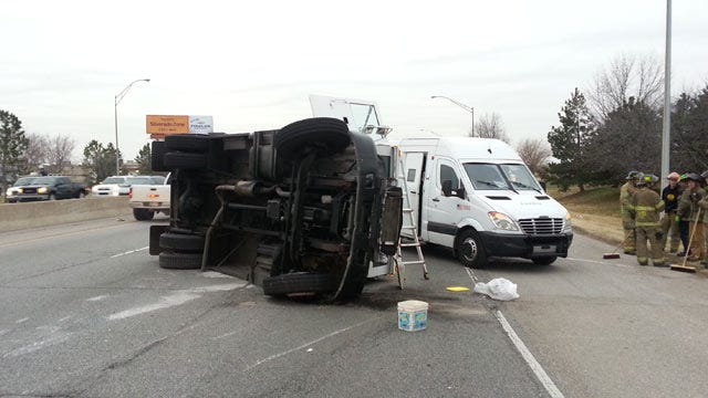 Armored Truck Rolls Over On Tulsa Highway