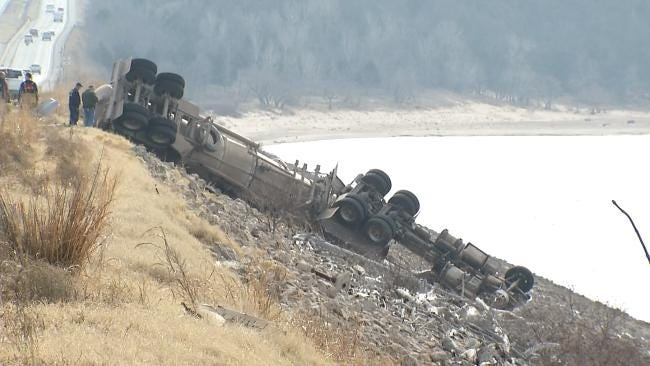 Overturned Tanker Spills Crude Oil Into Keystone Lake