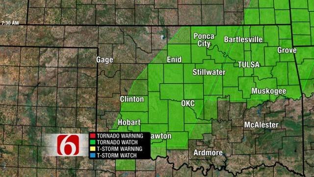 Northeast Oklahoma Under A Tornado Watch Until 3 p.m.