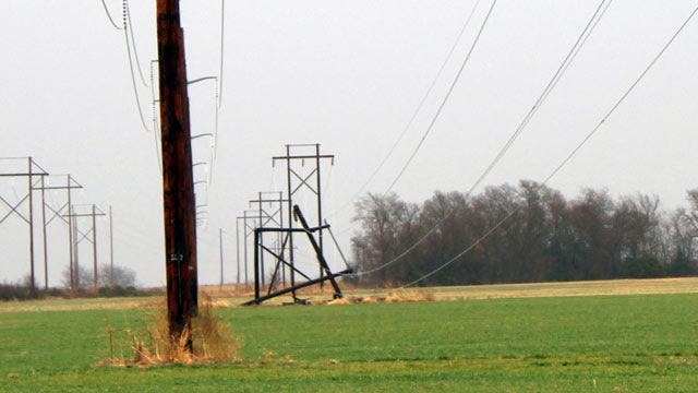 Thunderstorms Topple GRDA Power Pole