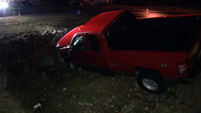Tulsa Police Look For Driver Of Wrecked Pickup Truck