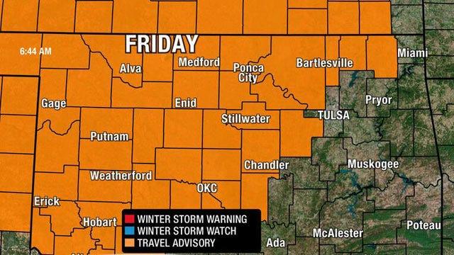 Freezing Precipitation Possible Friday Morning In Oklahoma