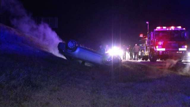 Driver Rescued From Burning Car After Turner Turnpike Wreck