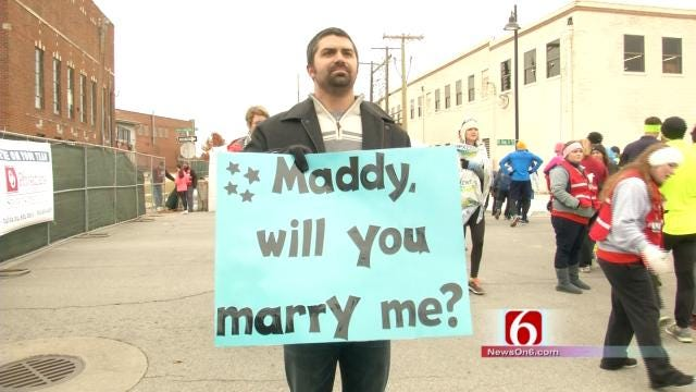 Finish Line Proposal Greets Tulsa Route 66 Runner