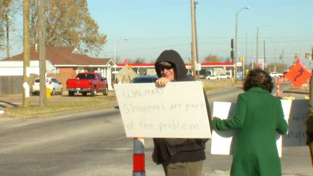Tulsa Protesters Picket For Walmart Store Employees
