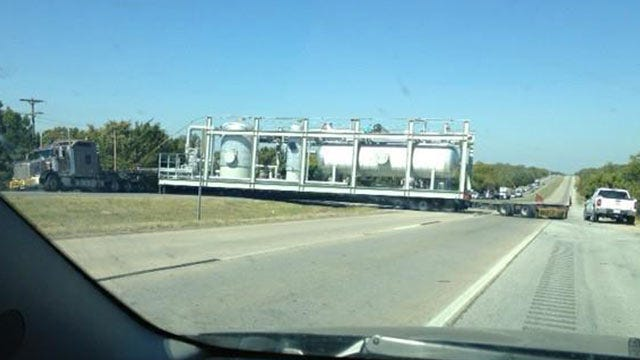 Semi With Oversized Load Blocks Highway 75 In Okmulgee County