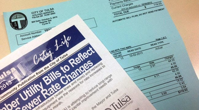 Tulsa Water And Sewer Bills Reflect Rate Increase