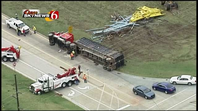 Load Shift Causes Semi To Overturn On North Lewis Avenue