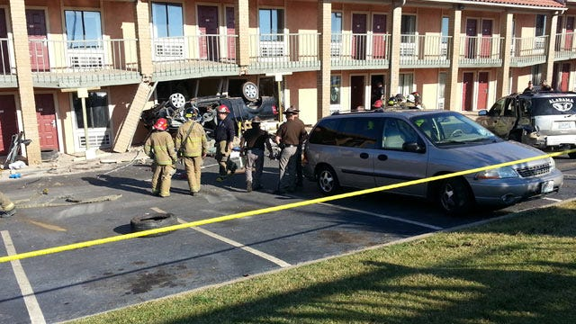 Pickup Truck Veers Off I-44, Slamming Into East Tulsa Motel