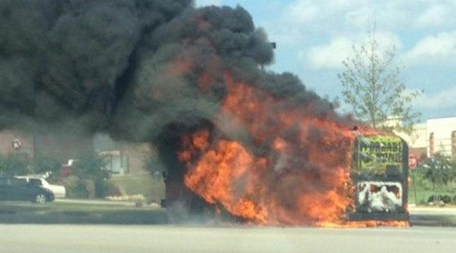 Transit Bus Catches Fire At Tulsa Hills Shopping Center